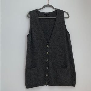 Eileen Fisher Lambswool Cashmere Gray Vest L Grey